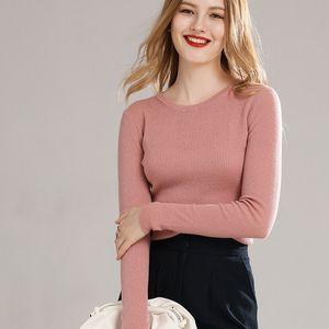 LHZSYY Worsted 2020 100% pura lã Sweater Mulheres High-end Rodada pescoço Outono Nova camisa de malha pulôver Magro estiramento Cashmere