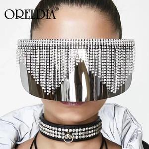 Miroir surdimensionné diamant Tassel Lunettes de soleil Femmes Hommes luxe strass Big Mask Frame Goggle Silver Shade Lunettes UV400 E84L