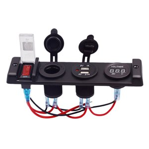 Dc12V Car Cigarette Lighter Switch Four-Position Center Console Dual Usb Charger With Voltmeter Cigarette Lighter Socket