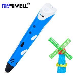 Myriwell 3D Pen Myriwell 1ère génération Stylos magique 1.75mm PLA Filament enfants 3d Dessin d'impression Diy Pen Noël 3 d Stylo