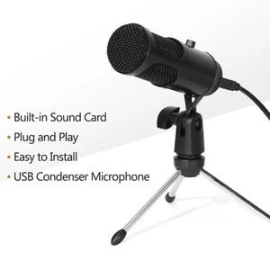 게임 녹화 라이브 스트리밍을위한 볼륨 컨트롤과 2020USB 콘덴서 마이크 플러그 앤 플레이 컴퓨터 마이크