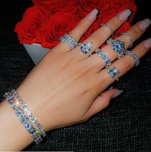 Victoria Neue Funkelnde Luxus Schmucksachen Ins Top Sell 925 Sterling Silber Pave White Topas CZ Diamant Ewigkeit Frauen Hochzeit Braut Ring Geschenk