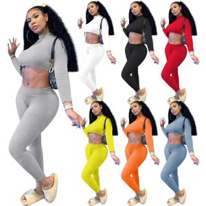 Women Tracksuit 2 Piece Set Ribbed Yoga outfits Fashion Long Sleeve Crop Top Shirts Stretchy Rib Leggings Gym Sets ladies Sports Suits 105