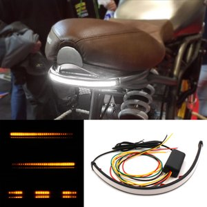 1X White Red Amber Motorcycle Switchback Flowing Taillights Sequential Flowing LED Light Strip Bar Turn Signal Light