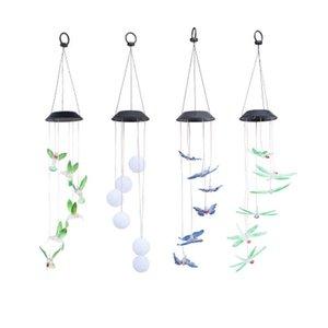 lâmpada borboleta Solar Solar powered lamp beija-flor Solar lâmpada sino de vento Garden Decor Party Supplies CRESTECH