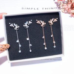 MENGJIQIAO 2020 coreani nuovi gioielli orecchio delicato fiore del metallo zircone nappa orecchini per le donne Moda cristallo Orecchini