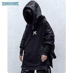 Japonês Hip Streetwear Man Hop Embroideried pulôver Patchwork Falso Two DarkWear Tops Techwear Hoodies michalkova