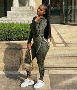 Designer Womens Leopard 2 Two Piece Tracksuit Set Sweatsuit Jackets Hoodies Pants Trousers Shirt Sportswear Sleeve Bodycon Outfits Long Wduo