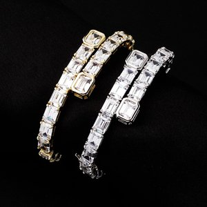 Tennis Bracelets Fashion Men Women 18K Gold Rhodium Plated Geometric Bracelets Hip Hop Luxury Bling Rectangle Zircon Bracelets Bangles