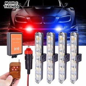 4 pezzi 12V 6LEDs Strobe Led Light Bar telecomando Ambra emergenza lampeggiante Attenzione barre luminose per le luci auto di inondazione del punto dell'automobile LED