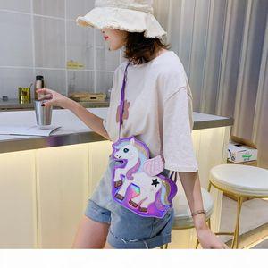 2020 ideal de la manera unicornio lentejuelas PU láser niñas del monedero del hombro bolsa de asas de la bolsa de mensajero de Crossbody de las mujeres Flap Bolsa bolso