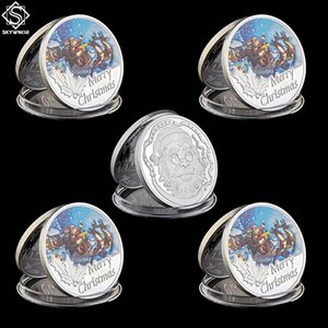 Free Shipping 5PCS 2018 Merry Christmas Santa Claus Fine Silver Father Christmas Coin Snowman & Elk Gift