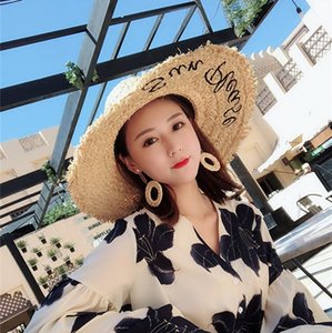 Net Red Celebrity Inspired Embroidered Lettered Raffia Hat Female Summer Dome Large Brimmed Sun Hat Beach Seaside
