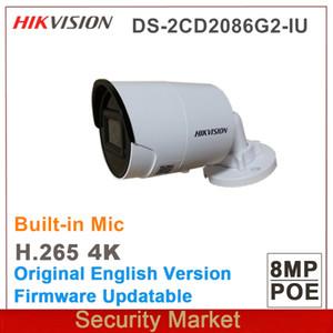 hikvision 4K English DS-2CD2086G2-IU AcuSense IP 8Mp IR CCTV Mic built in Fixed Mini Bullet Network POE Camera