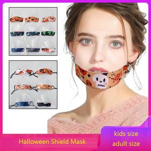 Máscara de Halloween Visual Escudo de algodón + TPU para niños adultos transparentes Máscaras protector facial reutilizable Anti-escupir boca cara cubierta