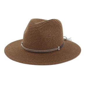 2020 Vintage Panama Hat Women Straw Fedora Male Sun Hat Wide Brim Summer Beach Sun Visor Cap Chapeau Cool Jazz Trilby Cap