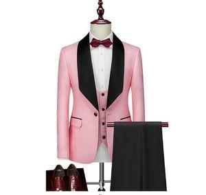 Fashionable Groom Tuxedos Handsome Groomsme Suits Fit Best moking pour hommes Suit Wedding Men's Suits Bridegroom (Jacket+Pants+Vest+Tie)