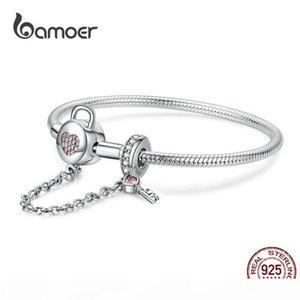 BAMOER Silver Snake Bracelets 925 Sterling Silver Pink CZ Heart Lock and Key Safety Chain Charm Bracelet for Women Gift SCB143 LY191217