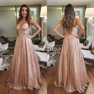 Glitter Evening Dresses Sweetheart Sleeveless Lace Up Back A-Line Shiny Vintage Arbic Formal Prom Party Gowns Vestidos De Festa
