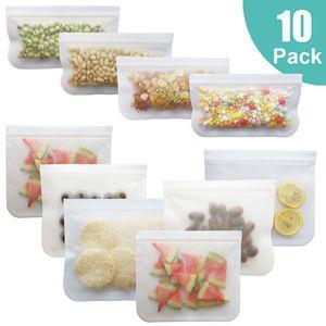 10Pcs PEVA Silicone Food Storage Bag Reusable Freezer Bag Leakproof Top Zip Lock Bags Kitchen Organizer Fresh-keeping Bag