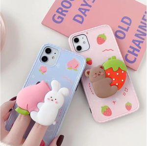 Mytoto 3D-Cartoon-Kaninchen-Bär Peach Strawberry Halterstandplatz-Silikon-weicher Telefonkasten für iphone 11 Pro Max X XR XS 7 8 und hintere Abdeckung