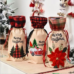 Christmas Plaid Wine Bottle Cover Floral Car Printted Wine Bag Christmas Champagne Bottle Covers Christmas Wine Bottle Decoration