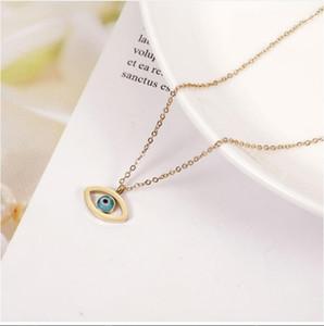 EVIL EYE غير القابل للصدأ قلادة الصلب قلادة ذهبية فضية اللون سلسلة العيون التركية قلادة الأزياء والمجوهرات للمرأة أنثى EY6691