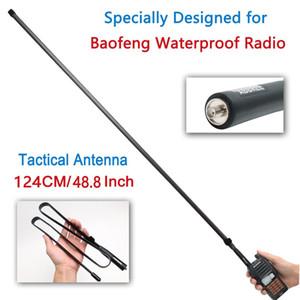 ABBREE 124CM impermeável Dobrável Tático VHF / UHF 144 / 430MHz Antena para Baofeng UV-XR UV-9R mais À Prova D 'Água Radio Walkie Talkie