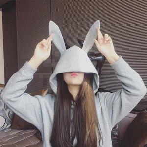 Korean style Sweet Rabbit Ears Hooded Sweatshirt Women Solid Color Hoodies Loose Loose Long Sleeve Tracksuits Pullovers Clothing