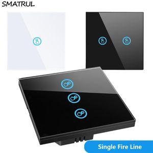 SMATRUL 터치 벽 스위치 라이트 램프 크리스탈 유리 스크린 패널 1 개 2 3 갱 오프 없음 중립 와이어 EU 영국 표준 센서를 주도