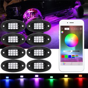 8Pcs Auto LED Rock Light Under Body RGB Car Atmosphere Lamp APP Phone Control