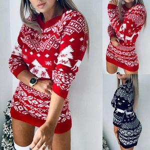 Inverno a maniche lunghe abito in maglia femminile Abbigliamento Natale Festa della Donna 2020 Designer lusso casual Abiti Maglione