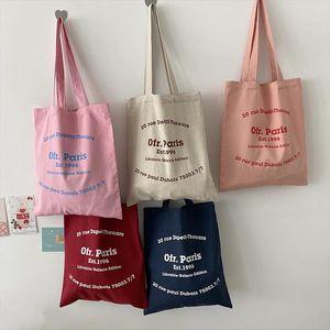 Bags Canvas Bag Women Paris Letters Print Shopping Shoulder Tote Cotton Eco Girls Handbag Cloth Fabric Linen For Shopper Ljxsl