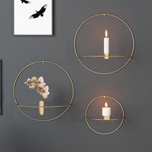 Modern Art 3D Wall Mounted Candle Holder Metal Vintage Hanging Dry Flower Vase Geometric Tea Light Home Decor Candlestick