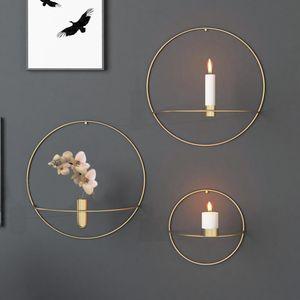 Pared del arte moderno 3D montado en la vela del metal del sostenedor de la vendimia Colgante flor seca florero geométrico luz del té Decoración de velas