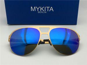 new mykita sunglasses ultralight frame without screws ARON pilot frame flap top men brand designer sunglasses coating mirror lens