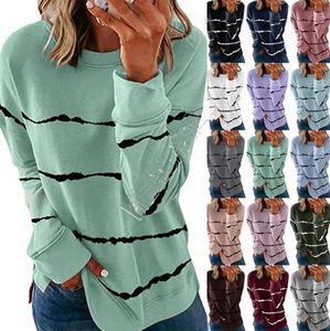 5XL gebatiktem Druck Frauen Striped Pullover Pullover Herbst Langarm-T-Shirt mit Rundhalsausschnitt-lose Blusen-Hemd-beiläufige Sport-Tops D91714