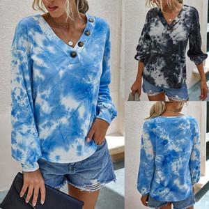 Frauen Fashion V-Ausschnitt Krawatten-Drucken-T-Shirts T-Shirts Freizeit Pullover mit langen Ärmeln Female Tops