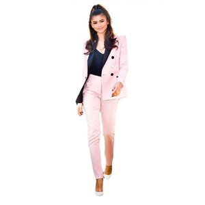 Light Pink 2020 Mother Of The Bride Pant Suits Women Business Suits Black Peaked Lapel Tuxedo Blazer For Wedding(Jacket+Pants)