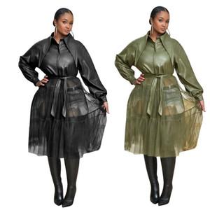 Winter-Frauen-Leder-Jacken Mesh-Patchwork Langarm-PU-Mantel-Jacke Street Langarm Kleid