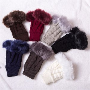 1 Pair 2020 Women Girl Gloves Hand Warmer Winter Gloves Arm Faux Fur Crochet Knitting Warm Long Fingerless Mittens Female