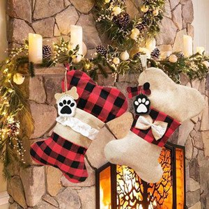 Sacchetto Stockings regalo di Natale Dog Bone Bone Fish Shape Plaid Azioni sospese Xmas Tree Decoration Candy Bag HHA1576