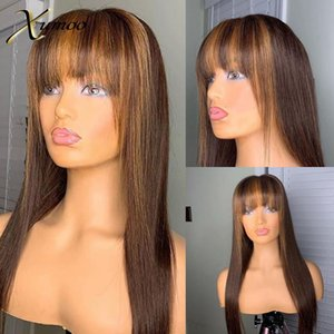 XUMOO Straight Human Hair Wig Brown Highlight Wigs With Bangs Remy Hair Colored Human Wigs Full Machine Made For Women