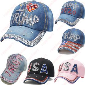 Donald Trump Chapéus 2020 Eleição Atividade Cowboy Hat Bling Bling diamante repicado Flags Cap EUA Bonés de beisebol DHL frete grátis