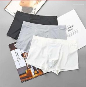 Mens Underpants Male Clothing Plus Size Solid Color Breathable Mens Designer Underwear Middle Waist Boxers Stretch