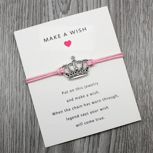 Custom-Infinity Love Double Heart Crown Angel Wish Card for Women Adjustable Bracelet Greeting Cards Jewelry With Card