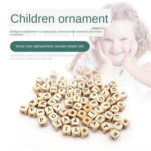 rPKeH 100 개 DIY 어린이 DIY의 비즈 액세서리를 페르시 큰 구멍 10mm의 정사각형 편지 나무 구슬 높은 품질의 나무 목재