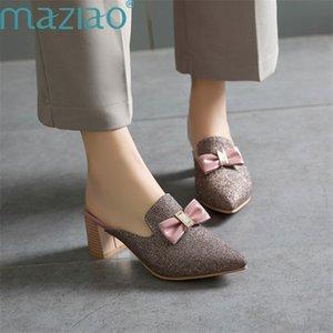 Hausschuhe Damenspitzschuh Metall Dekoration Bow-Knoten Thick Absatz-Partei-Schuh-Frauen-Absatz-Schuhe Sexy MAZIAO