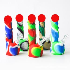 8 pollici il maschio pene tubo in silicone acqua Bong Con downstem spazio per fumatori Bong Rig silicone della FDA Dab Rigs Unbreakable Oil
