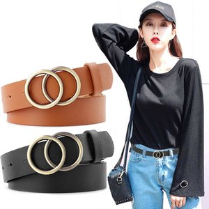 Quaslover Fashion Women Leather Belt Luxury Round Buckle Belts Ladies PU Leather Belt High Quality Waistband for Girl Dress